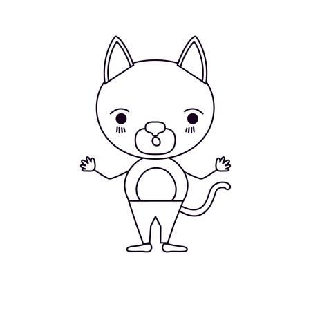 silueta de gato: sketch silhouette caricature of cute cat surprised expression in pants vector illustration