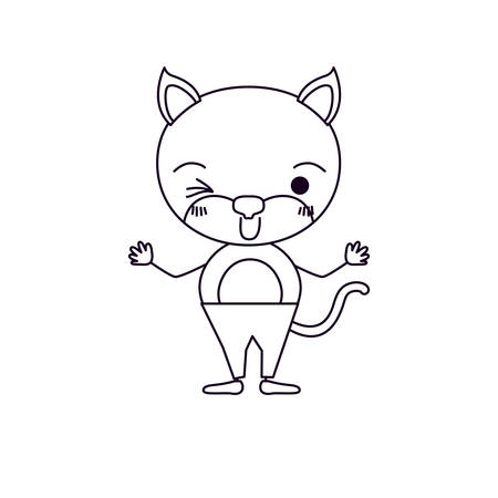 sketch silhouette caricature of cute cat wink eye expression in pants vector illustration