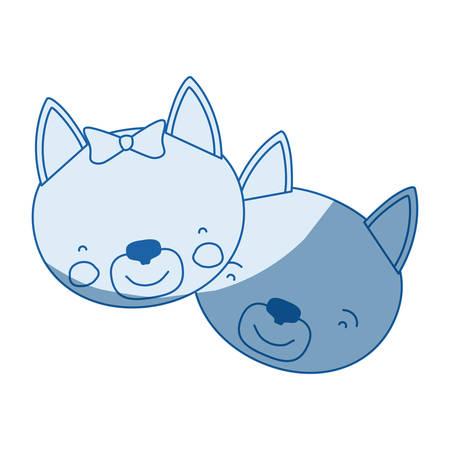 silueta de gato: blue color shading silhouette caricature faces of cat couple animal happiness expression vector illustration Vectores