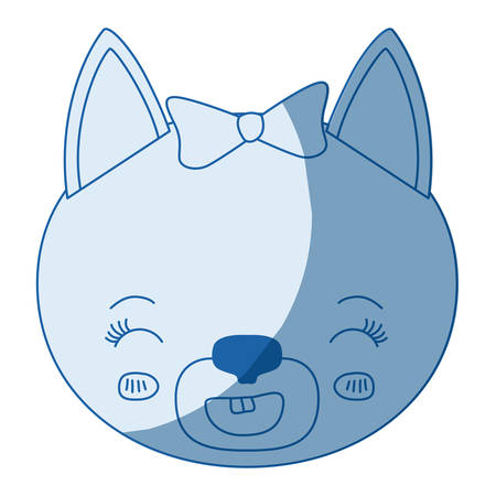 blue color shading silhouette caricature face of female cat animal smiling expression vector illustration