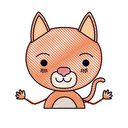 silueta de gato: color crayon silhouette caricature half body of cat happiness expression vector illustration