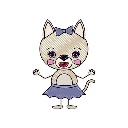 silueta de gato: color crayon silhouette caricature of cute female cat in skirt with bow lace with happiness expression and smile vector illustration
