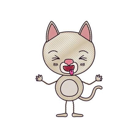 silueta de gato: color crayon silhouette caricature of cute cat expression sticking out tongue vector illustration