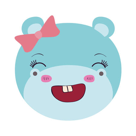 colorful caricature face female hippo animal smiling expression with bow lace vector illustration