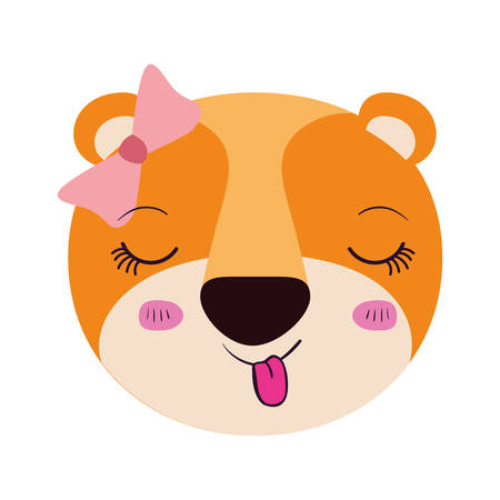 colorful caricature cute face female lioness animal sticking out tongue expression with bow lace vector illustration