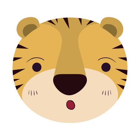 colorful caricature cute face of tiger surprised expression vector illustration