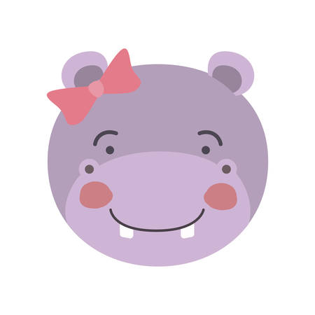 colorful caricature cute face of female hippo animal happiness expression with bow lace vector illustration