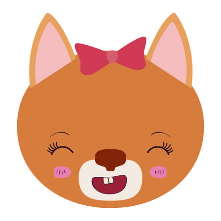 colorful caricature face of female cat animal smiling expression vector illustration