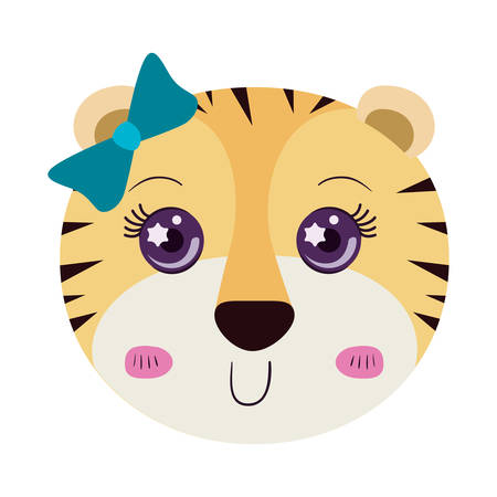 tigress: colorful caricature cute face of female tigress animal with bow lace vector illustration