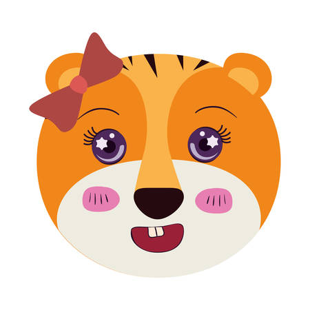 tigress: colorful caricature cute face of female tigress animal with bow lace and smiling expression vector illustration Illustration