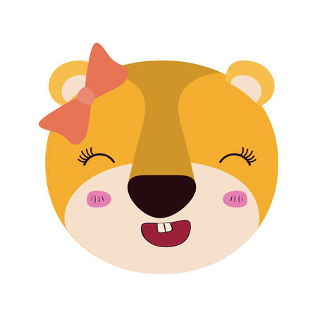 brow: colorful caricature cute face female lioness animal smiling expression with bow lace vector illustration