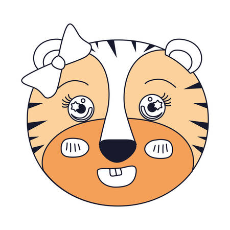 tigress: silhouette color sections of face of female tigress animal smiling expression with bow lace vector illustration
