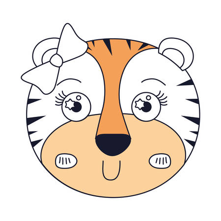tigress: silhouette color sections of face of female tigress animal with bow lace vector illustration