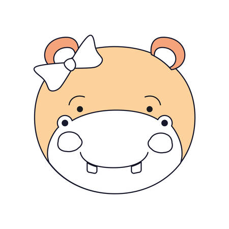 silhouette color sections of face female hippo animal happiness expression with bow lace vector illustration