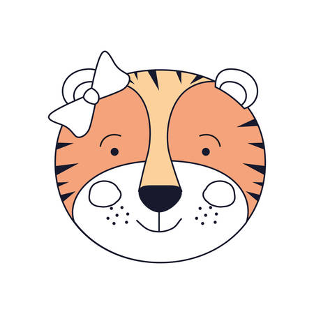 tigresa: silhouette color sections of face female tigress animal happiness expression with bow lace vector illustration