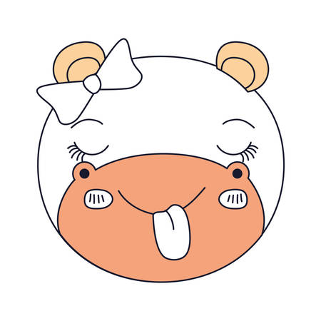 silhouette color sections face female hippo animal sticking out tongue expression vector illustration Illustration