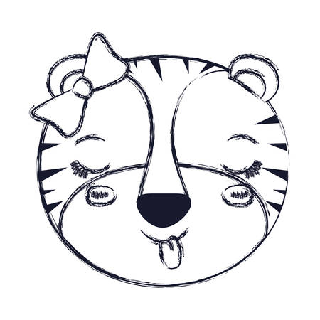 tigress: blurred silhouette face of female tigress animal sticking out tongue expression vector illustration Illustration