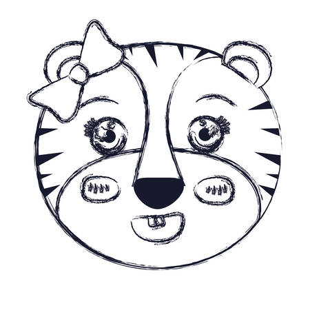 tigresa: blurred silhouette face of female tigress animal with bow lace vector illustration