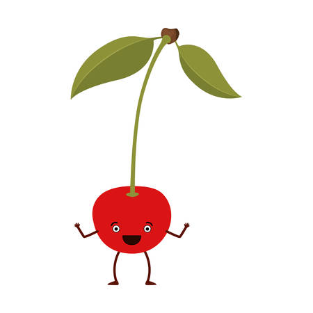 white background of cherry caricature with stem and leaves vector illustration Illustration