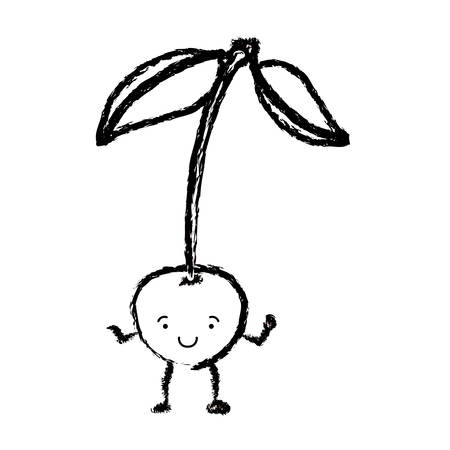 arboles caricatura: monochrome blurred silhouette of cherry caricature with stem and leaves vector illustration Vectores