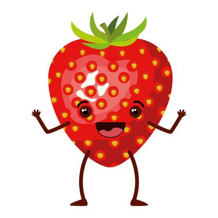 흰색 배경으로 현실적인 딸기 과일 풍자 만화 벡터 일러스트 레이 션