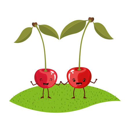 white background with realistic pair of cherry fruits caricature over grass vector illustration
