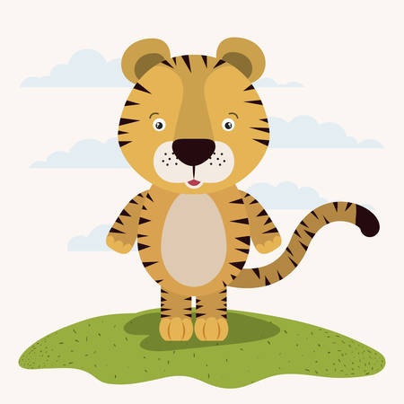 White background with color scene cute tiger animal in grass vector illustration