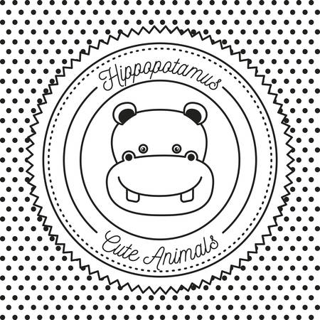 hippopotamus: monochrome dotted background with silhouette frame decorative and face hippos cute animals text vector illustration Vectores