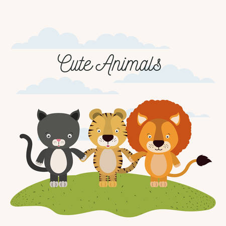 lion tail: white background with color scene cat tiger and lion cute animals holding hands in grass vector illustration