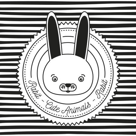 monochrome linear background with silhouette frame decorative and face rabbit cute animals text vector illustration Illustration
