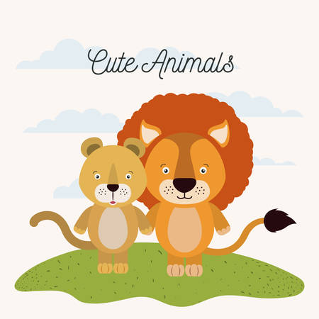 white background with color scene couple cute lion and lioness animals in grass vector illustration
