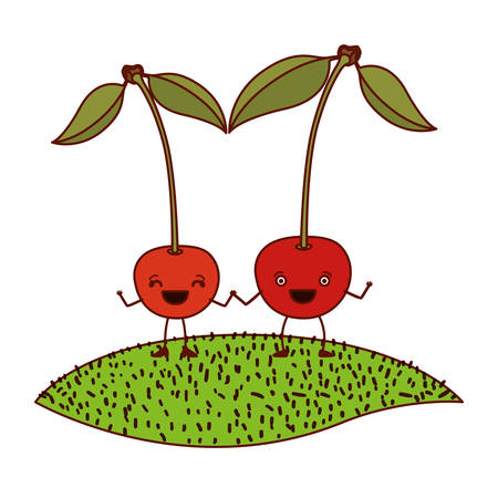 arboles caricatura: white background with pair of cherry fruits caricature over grass vector illustration