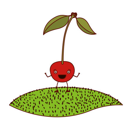 arboles caricatura: white background of cherry caricature with stem and leaves over grass vector illustration Vectores