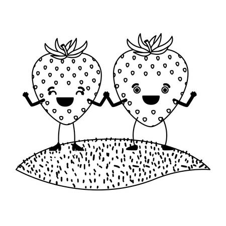 white background of monochrome pair of strawberry fruits caricature over grass vector illustration Иллюстрация