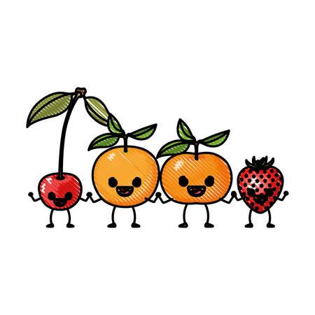 Farbige Wachsmalstift Silhouette Set Früchte Birne Erdbeere Und ...