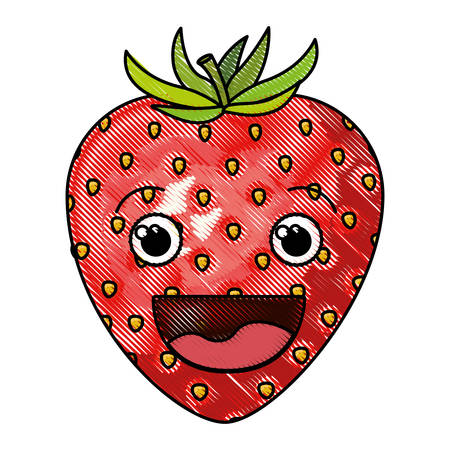 Colored crayon silhouette of smiling cartoon strawberry fruit vector illustration