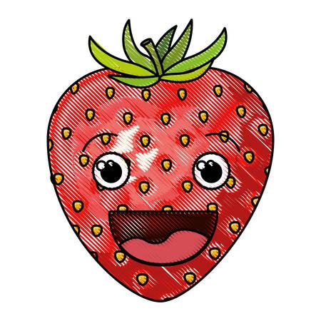 Farbige Buntstift Silhouette der lächelnden Cartoon Erdbeere Obst Vektor-Illustration Standard-Bild - 82518095