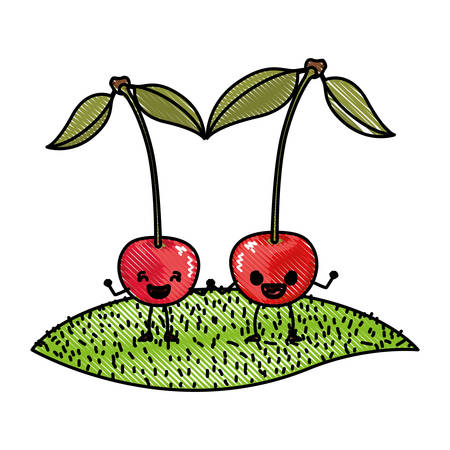 white background of colored crayon silhouette of realistic pair of cherry fruits caricature over grass vector illustration