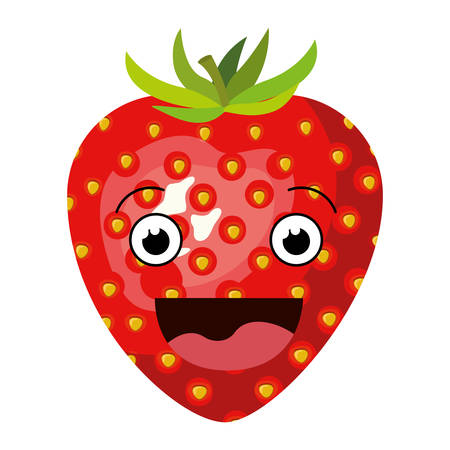white background with realistic silhouette of smiling cartoon strawberry fruit vector illustration