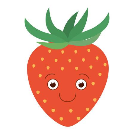 Weißer Hintergrund mit Schattenbild der glücklichen Karikaturerdbeerfrucht-Vektorillustration Standard-Bild - 82520892
