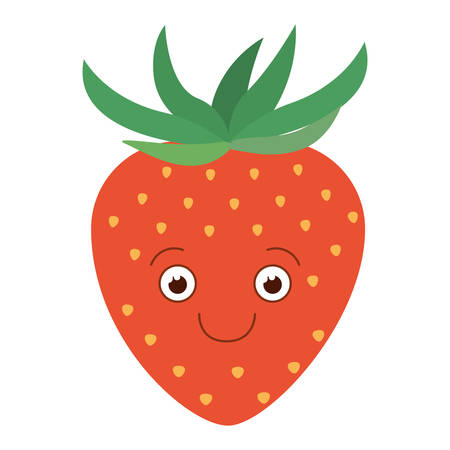 white background with silhouette of happy cartoon strawberry fruit vector illustration
