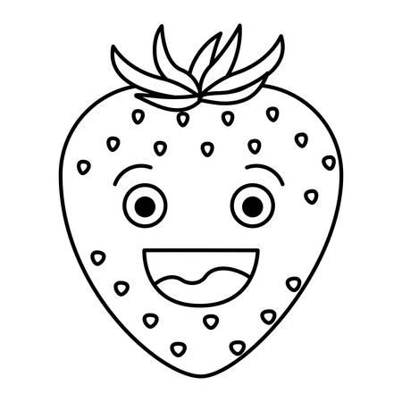 웃는 만화 딸기 과일 벡터 일러스트 레이 션의 흑백 실루엣과 흰색 배경
