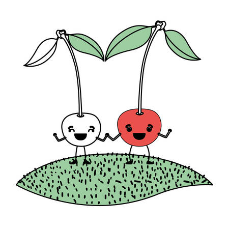 white background with silhouette color sections with pair of cherry fruits caricature over grass vector illustration