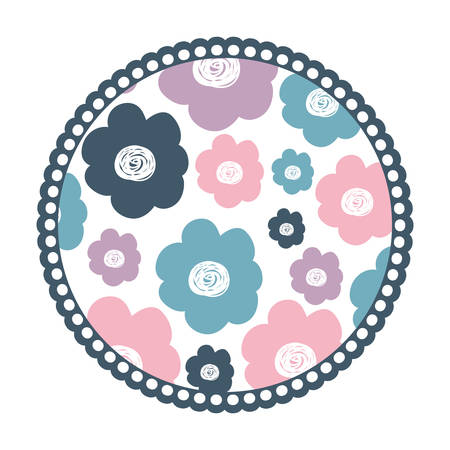 white background with colorful round frame with pattern of flowers vector illustration