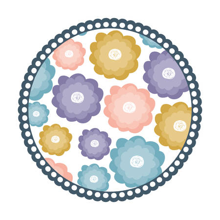 white background with colorful round frame with watercolor pattern of flowers vector illustration Illusztráció