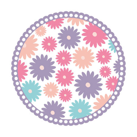 white background with colorful circular frame with pattern of daisy flowers vector illustration