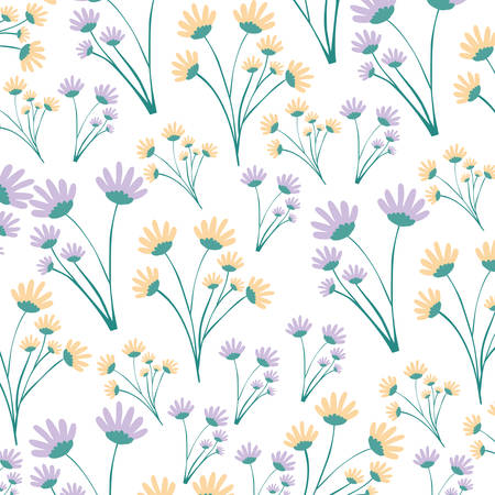 white background with colorful pattern of branches with flowers vector illustration