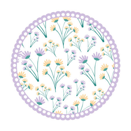 white background with colorful circular frame with pattern of branches with flowers vector illustration