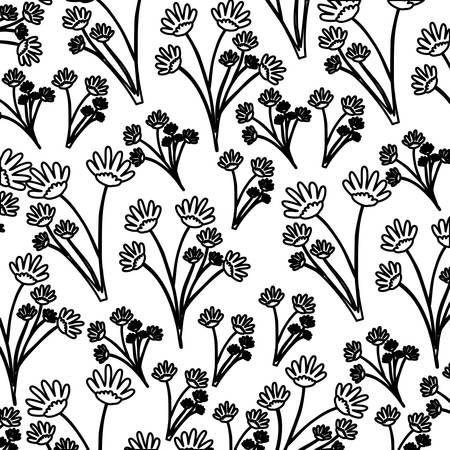 monochrome pattern of branches with flowers vector illustration