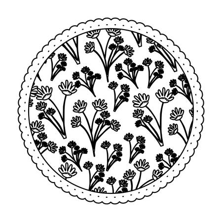 monochrome round frame with pattern of branches with flowers vector illustration Illusztráció